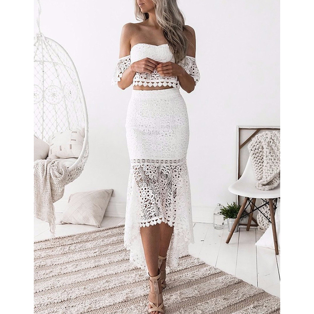 d728c88ec20 Two piece set Off shoulder lace crop tops Mermaid skirt suit 2018 Summer  fashion Ankle-Length skirts Ruffle skirt sexy top suits