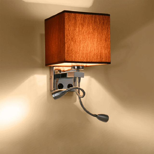 2 in 1 Modern LED Fabric Wall Lamp E27 Double Switch 110/220V Wall Lights Sconce Bedroom Bedside Flexible Reading Light