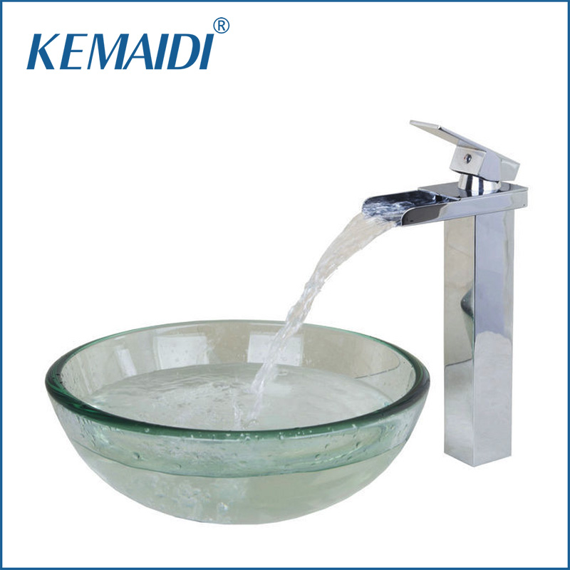 KEMAIDI Contemporary Transparent Tempered Glass Round Wash Basin Vessel Sink With Chrome Bathroom Faucet Glass Sink Set&Drain
