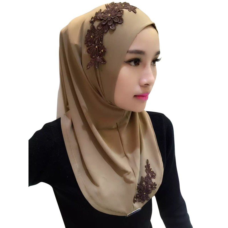 Ladies Lace Embroidery Headband Hijab Islamic Scarves Bonnet Shawls Muslim Scarf Women Hijab Islamic 2018 11
