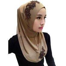 Женские повязка на голову с кружевом хиджаб мусульманские шарфы капот платки мусульманские шарф женский хиджаб Исламская 2018 11 Цвета высокого качества
