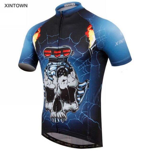 22207bc82 Samochody Czaszka Kolarstwo XINTOWN Zespołu męska Bike Koszulka Sportowa  Koszulka Top Krótkie Rękawy Stroje Rowerowe Odzież