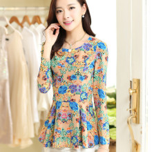 Long Sleeve Chiffon Tops Women Summer Printing blouse,elegant Shirts Sweet Style Chiffon blouses,women Shirts TT1155