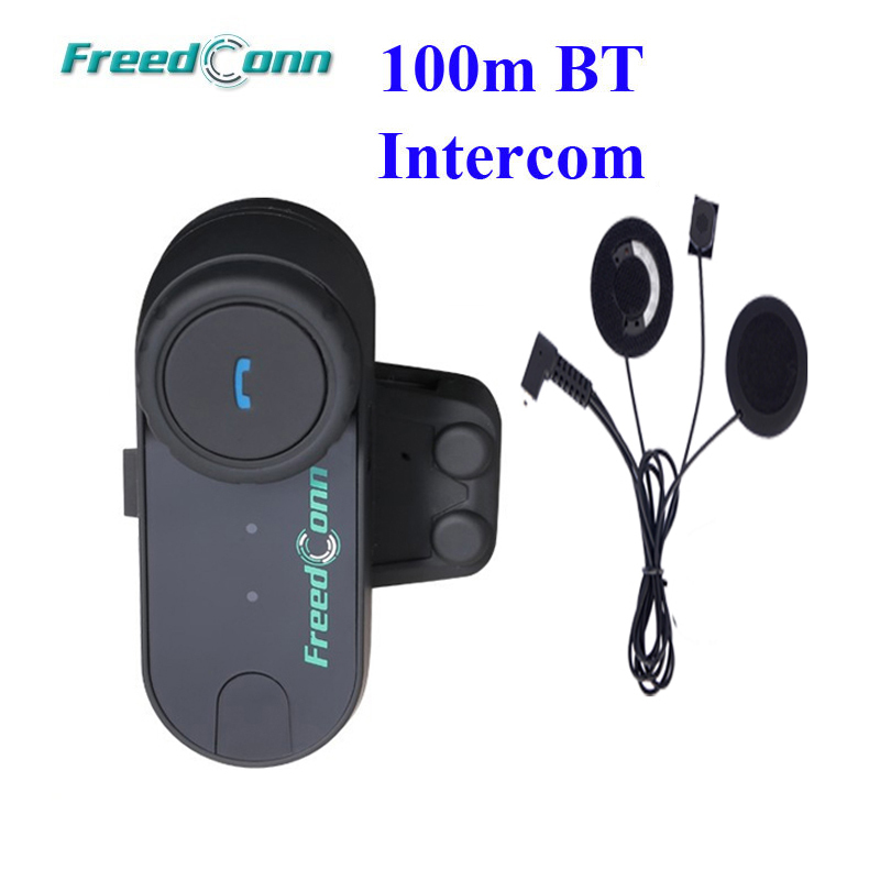 FreedConn 100M Bluetooth Motorcycle Helmet Intercom Interphone Headset Soft Microphone For Full Face Helme