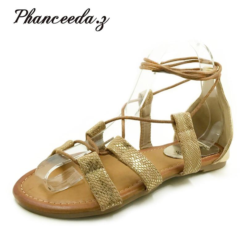 Plus Size 5-10  Fashion Gladiator Sandals Women Sexy Cutout Knee High Sandalias 2018 Summer Style Casual Flip Flops Shoes Woman