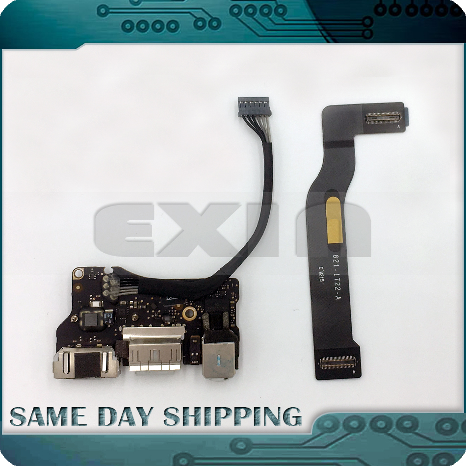 Original for Apple Macbook Air 13.3 A1466 I/O USB Audio DC-IN Jack Board w/ Cable 2013 2014 2015 821-1722-A 923-0439 820-3455-A for macbook air usb i o audio board 820 3213 a 11 laptop a1465 power dc jack md223 md224 2012