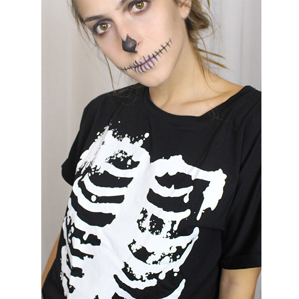 2017 punk rock street t shirt women skeleton printing for Print photo on shirt