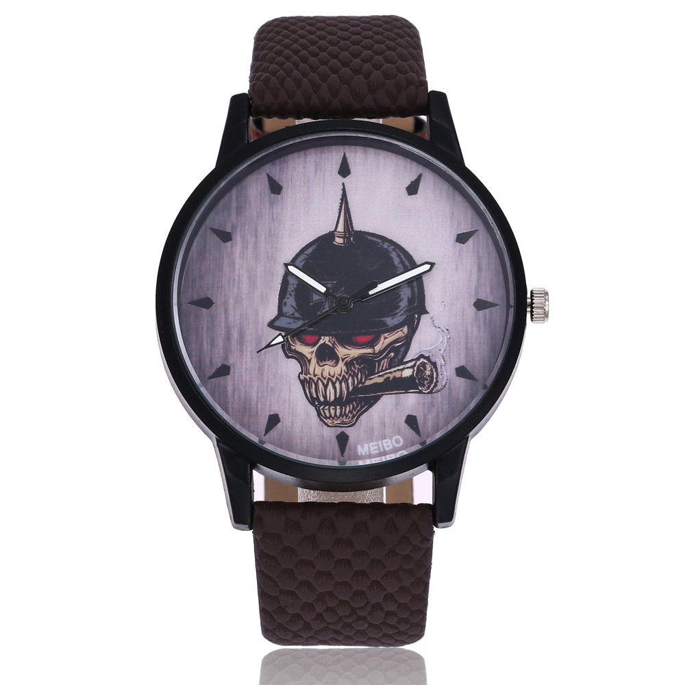 Retro Skull Pattern Dial Watch Women Men's Leather Strap Military Clock Men Round Dial Analog Quartz Wrist Watches Relogio #LH paidu fashion men wrist watch casual round dial analog quartz watch roman number faux leatherl band trendy business clock