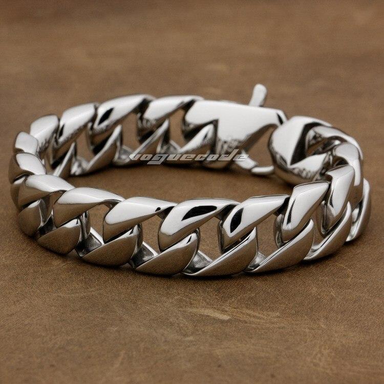 Bracelet à bascule solide en acier inoxydable 316L 9 longueurs pour hommes 5L019 (longueur 8.9 pouces)