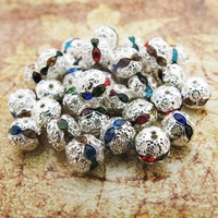 Min Order 10 00 100pcs Silver Tone 8MM Spacer Beads Colorful Rhinestone Ball Pave Beads Charms