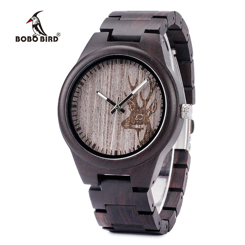 BOBO BIRD L-I26 Men's Elk Dial Wooden Watch Ebony Wood Band Japan Quartz Clock for Men in Gift Box OEM bobo bird wh05 brand design classic ebony wooden mens watch full wood strap quartz watches lightweight gift for men in wood box