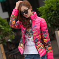 Cotton Padded Ladies Warm Parkas Outerwear 2016 New Winter Down Jackets Flower Printed Fashion Stand Collar Women Jackets CT150