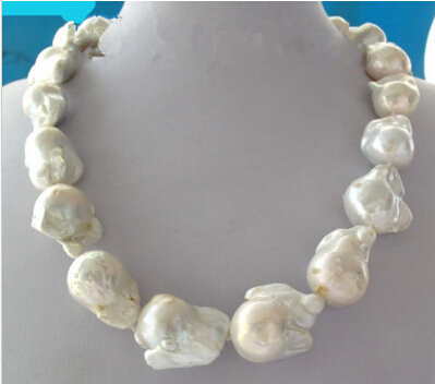 Free shipping Miss charm Jew1095 Large White Unusual Baroque Pearl Necklace disc Clasp 18