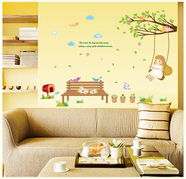 Cartoon Swing girl flower tree Wall Stickers Home Decoration Wall ...