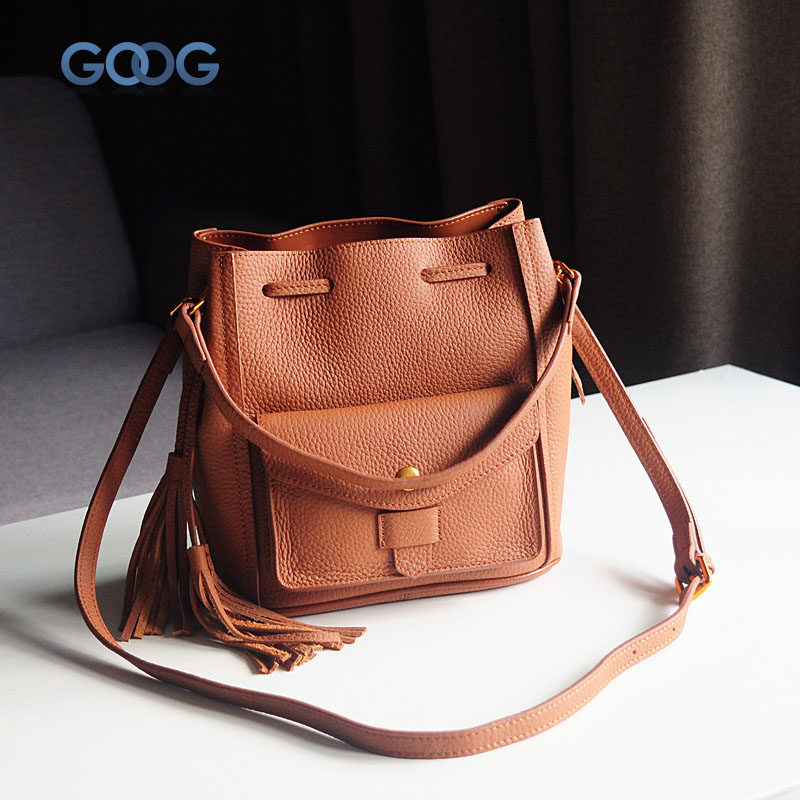 Korean version of the first layer of leather vertical section square shoulder Messenger bag in the bag fashion casual tassel lea aetoo first layer of leather shoulder bag female bag korean version of the school wind simple wild casual elephant pattern durab