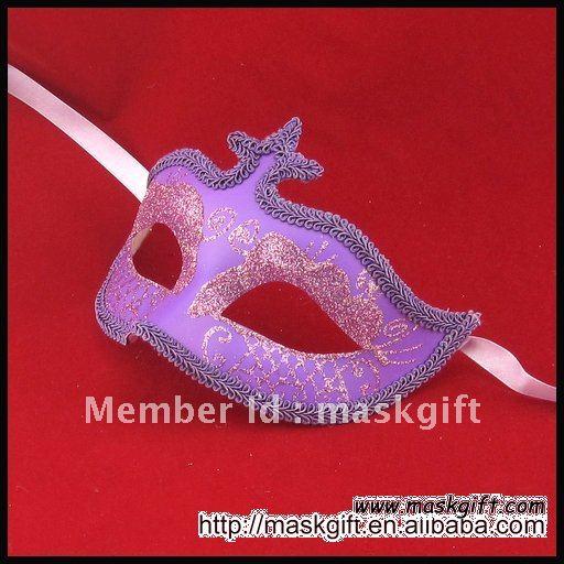 Популярные 6.5 Дюймов фиолетовый цвет венецианские маски для маскарада