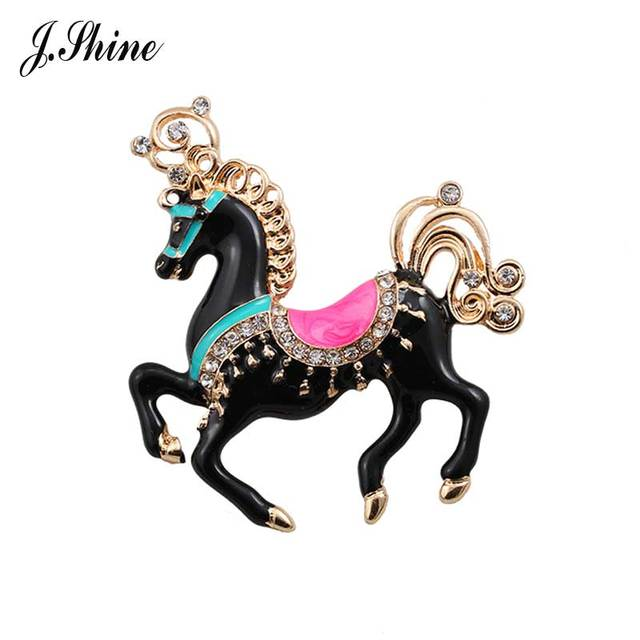 JShine Unique Black Enamel Horse Royal Style Charming Brooches for Women Pins and Brooches Cute Animal Dress Accessories