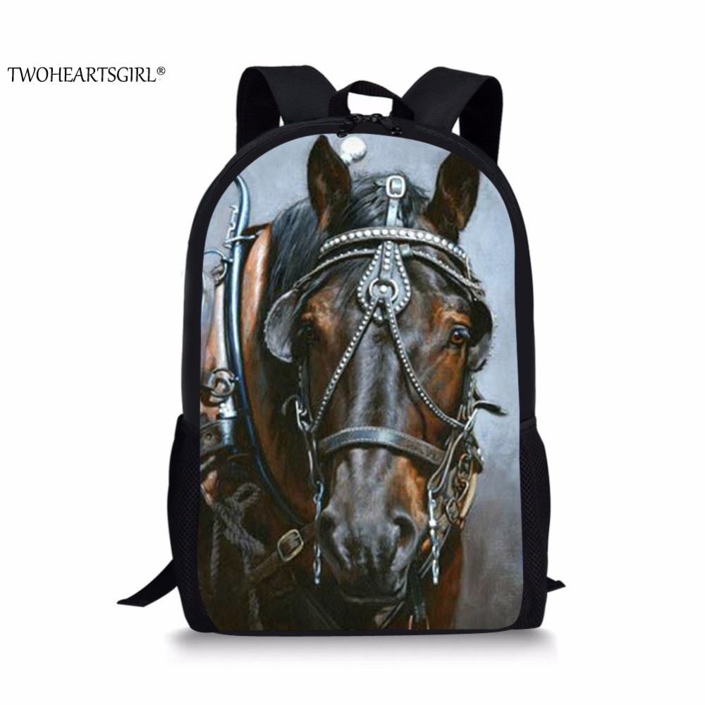 TWOHEARTSGIRL Black War Horse 3D Printing Backpack for Boys Teenager School Back Bags Cool Kids Capacity Pack College Student