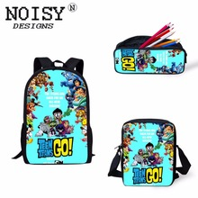 Купить с кэшбэком teen titans go action figures Printed Backpack Lunch box case Messenger bag lego titanic Pencil Bag case School For Kids Gift