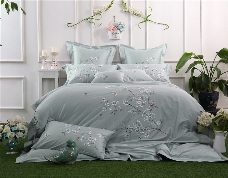 100 Egypt Cotton Oriental Embroidery Bedding Set Queen