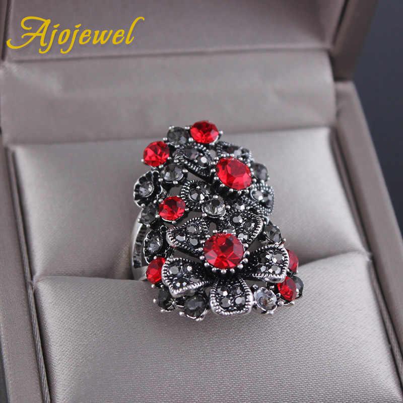 Размер 7-9 винтажные большие серые красные натуральные кубические циркониевые кольца высокого качества женские вечерние аксессуары для юбилея