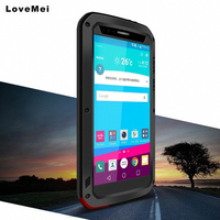 For LG G4 Case LOVE MEI Metal Silicone Gorilla Glass Hybrid Case For LG G4 Case