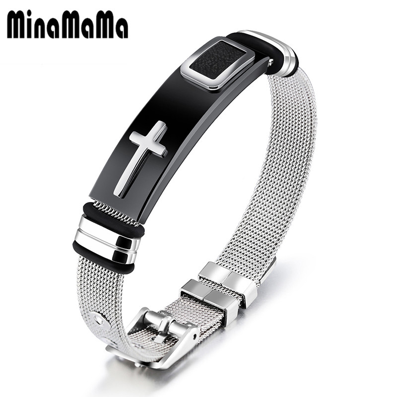 Moda catolicismo Cruz Cristo Negro oro color moda 316L Acero inoxidable pulsera para hombres ajustable joyería masculina fresca