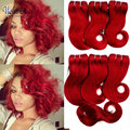 Brazilian body wave Virgin Hair with closure 6 Bundles Rosa Hair Products 8'' red human hair weave Burgundy VioletAnnabelle hair