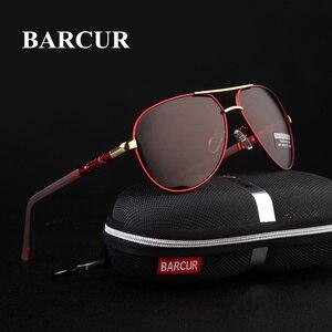 BARCUR الألومنيوم المغنيسيوم الرجال النظارات الشمسية الرجال مرآة مطلية بطبقة مستقطبة نظارات oculos الذكور نظارات اكسسوارات للرجال