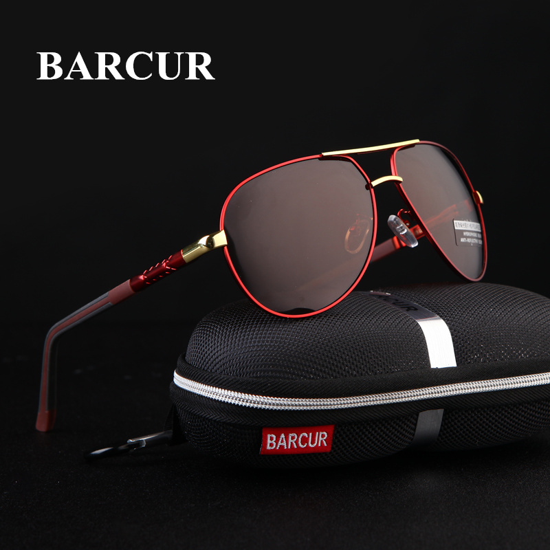 BARCUR 2018 Aluminum Magnesium Men's Sunglasses Polarized Men Coating Mirror Glasses oculos Male Eyewear Accessories For Men