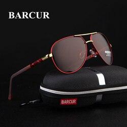BARCUR Aluminium Magnesium Männer Sonnenbrille der Männer Polarisierte Beschichtung Spiegel Gläser oculos Männlichen Brillen Zubehör Für Männer