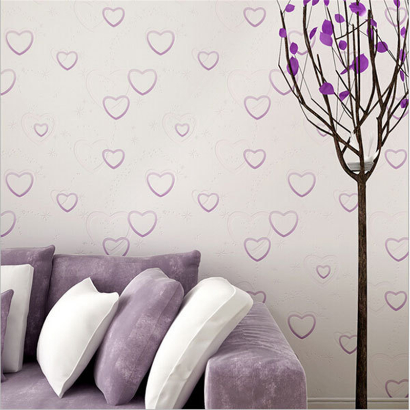 beibehang Cute Heart Pattern Kids Rooms Wallpaper Non-woven Wallpapers Boys Girls Bedroom Decor Wall Paper Mural Wall paper beibehang non woven pink love printed wallpaper roll striped design wall paper for kid room girls minimalist home decoration