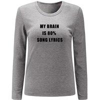 IDzn My Brain Is 80 Song Lyrics Print Long Sleeve Women S T Shirts Multi Color