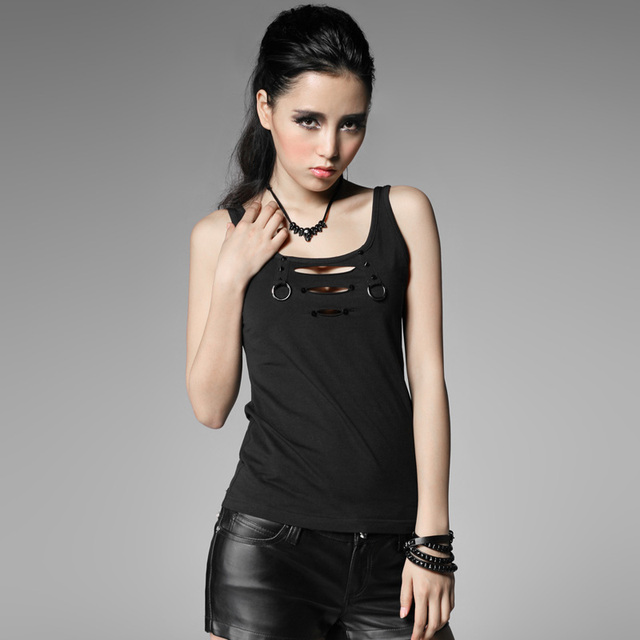 PUNK sleeveless Gothic cotton women Vest with broken hole black hollow out tank tops  T-317