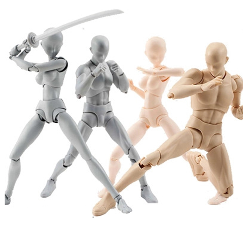 High-quality Anime Archetype He She Ferrite Figma Movable BODY KUN BODY CHAN PVC Action Figure for Collectible Model Toys 15cm anime action figure toys artist movable limbs male female 15cm joint body model mannequin art sketch draw kawaii action figures
