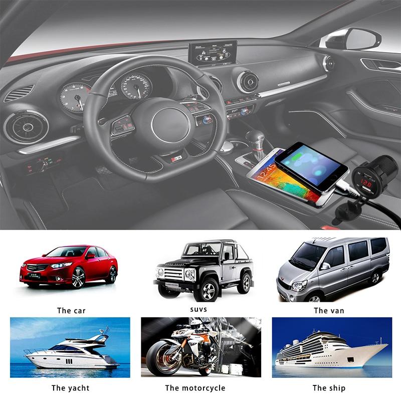 12 v 2.1A Coche Moto Cargador USB Voltímetro Socket Dual USB - Electrónica del Automóvil - foto 4