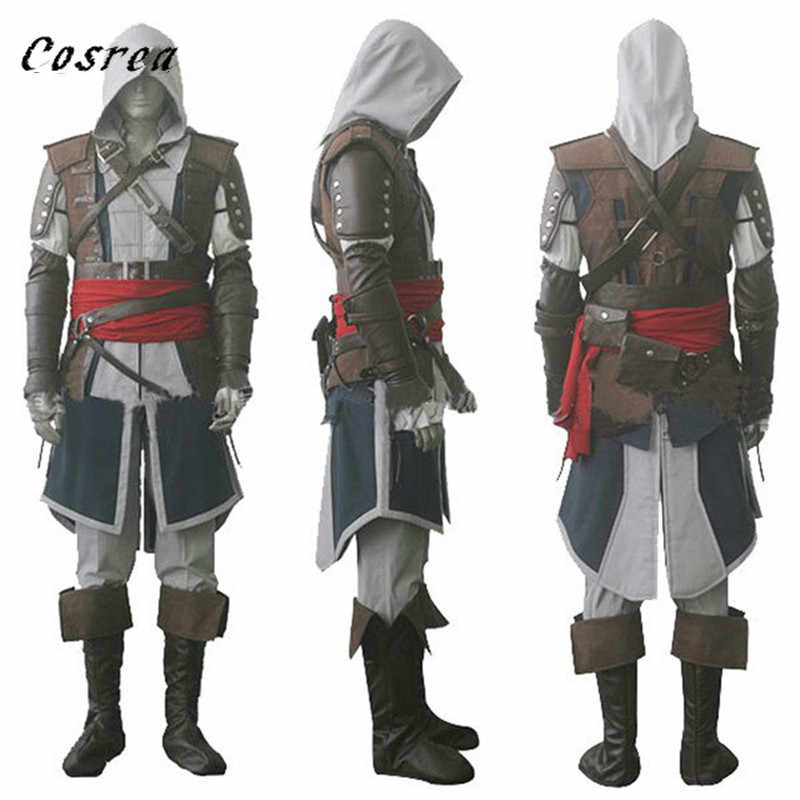 Cosrea Assassins Costume Edward Creed Black Flag Kenway Cosplay Costume Complete Customization Suit for Halloween Party