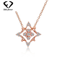 14K Rose Gold Christmas Style Snowflake Zircon Necklace for Women Diamond Inlaid Link Chain Fine Jewelry 925 Sterling Silver