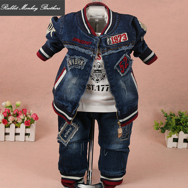 a09e73566 Kidswear new spring and autumn boys denim jacket T-shirt jeans three sets  Baby Clothing baby suit for infant baby boy clothes