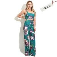 NOVO 2 Peça Set Mulheres Jumpsuit 2017 Verão Impressão Floral 2 PC conjunto Topos de Culturas Largas Calças Perna Treino Sexy Feminino Terno Ocasional