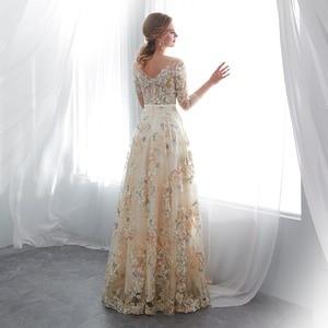 Image 2 - ดอกไม้พรหมชุดเดิน Beside You ลูกไม้ 3/4 แขน A Line แชมเปญเข็มขัดเอวยาว Gowns Vestido De Formatura