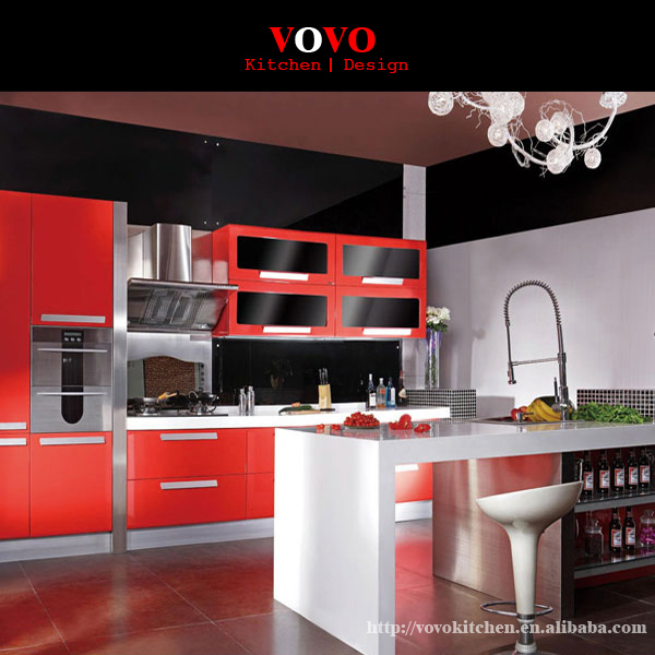 Diy Luxury High Gloss Red Lacquer Kitchen Cabinet In