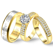 Gothic Wedding Couple Rings Set Luxury Cubic Zircon Women Striped Letter Statement Ring Men Gold Fashion Jewelry 2019