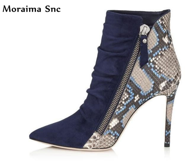 Moraima Snc Newest fashion women pointed toe pleated snake line side zipper sexy catwalk high heel Ankle boots party shoes