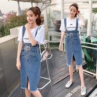Fashion Pocket Zip Belt Twinset Korean High Waist Letter Womens Denim Suits Chic Casual Open Side Split Two Piece Set