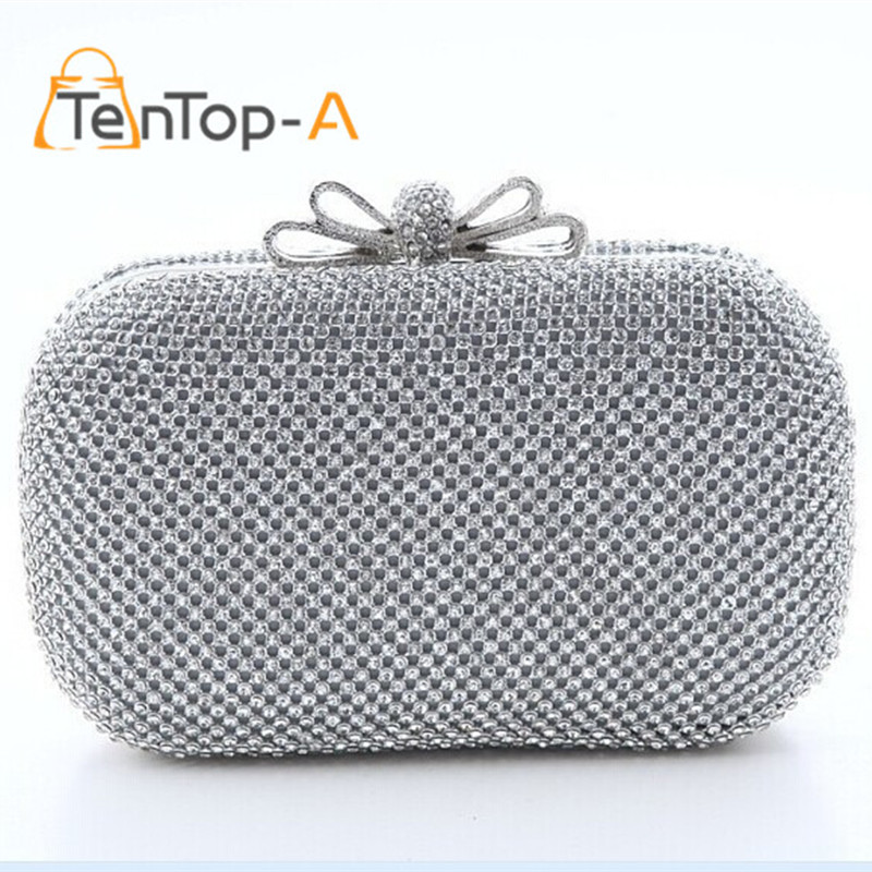 ФОТО TenTop-A Luxury Full Side Diamond Evening Bags chains Classic Rhinestone Day Clutch For Lady Bling Wedding Clutch Bags with Knot