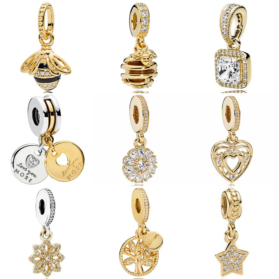 Gold Color Shine More And Most Love Sweet As Honey Queen Bee Floral Pendant Charms Fit Pandora Bracelet 925 Sterling Silver Bead kaletine honey bee 925 sterling silver bracelets colorful heart luxury love honey comb golden bee jewelry for men women bracelet