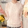 2018 New autumn Ladies White Blusas Women's Long Sleeve Chiffon Lace Crochet Tops Blouses Women Clothing Feminine Blouse 51C