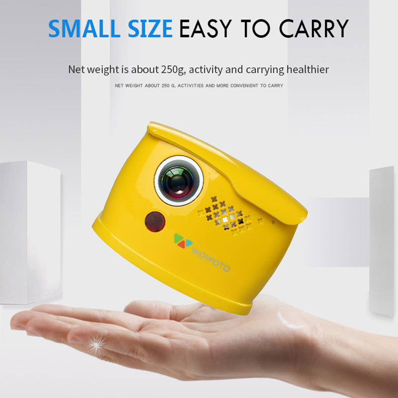 WOWOTO Mini Yellow Projector Manual Focus 854*480 Resolution Wi-Fi Bluetooth LED Portable HD For Home Entertainment Q1