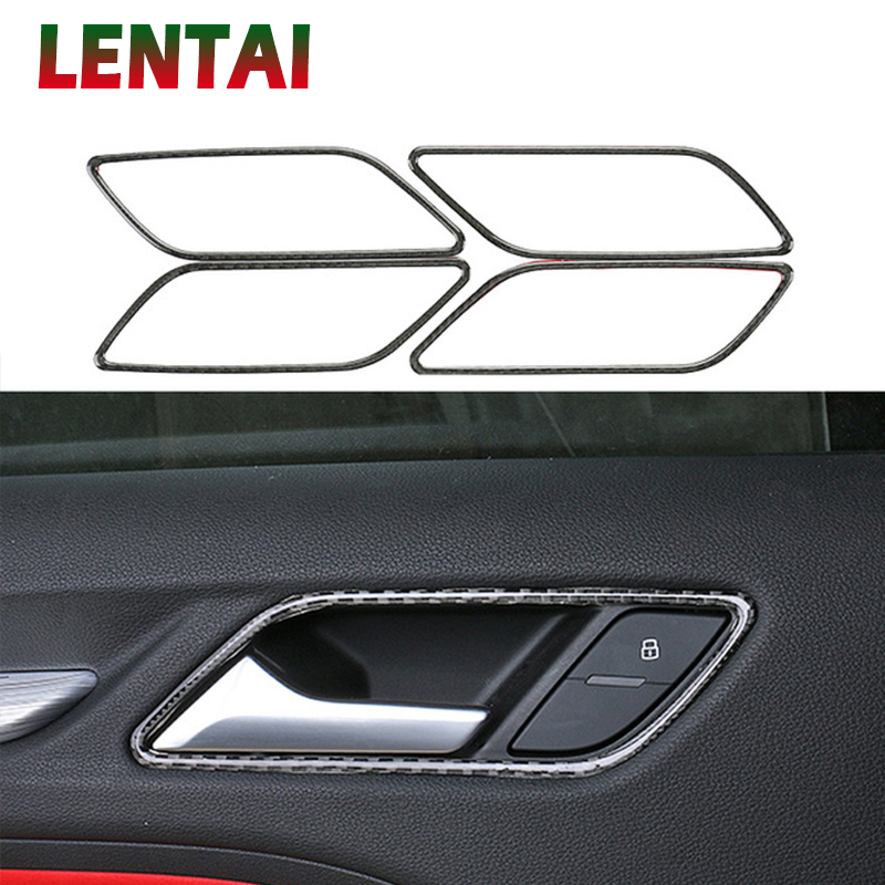 LENTAI 4pcs Auto Car Styling Carbon Fiber Interior Door Handle Frame Sticker For Audi A3 8V 2013 2014 2015 2016 2017 Accessories image